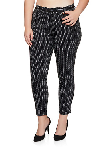 Plus Size Polka Dot Belted Dress Pants,BLACK,large
