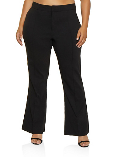 Plus Size Pintuck Stretch Flared Pants,BLACK,large