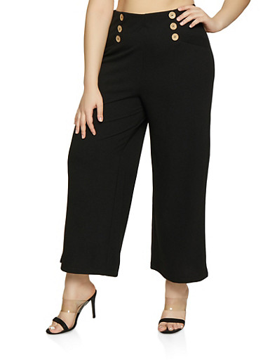 Plus Size Button Detail Gaucho Pants,BLACK,large