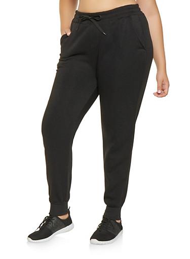 Plus Size Fleece Lined Sweatpants,BLACK,large