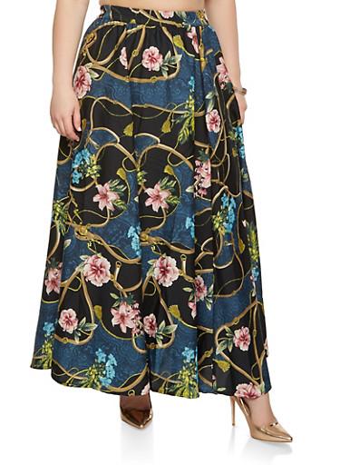 Plus Size Printed Maxi Skirt,TEAL,large