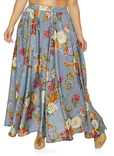Plus Size Striped Floral Maxi Skirt,NAVY,large