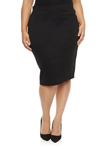 Plus Size Midi Pencil Skirt,BLACK,large