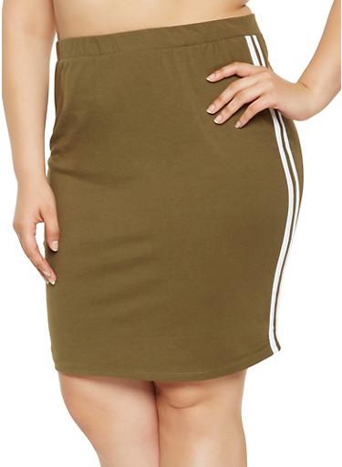 Plus Size Varsity Stripe Pencil Skirt,OLIVE,large