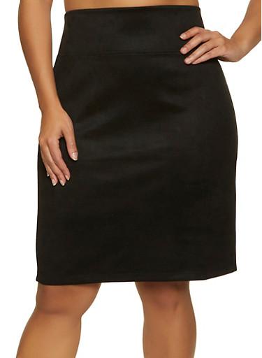 Plus Size Faux Suede Skirt,BLACK,large