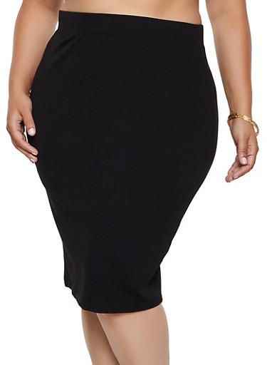 Plus Size Ponte Knit Midi Pencil Skirt | 3929069392009