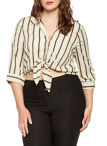 Plus Size Striped Tie Front Shirt,IVORY,large