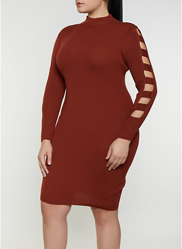 Plus Size Laser Cut Sleeve Sweater Dress