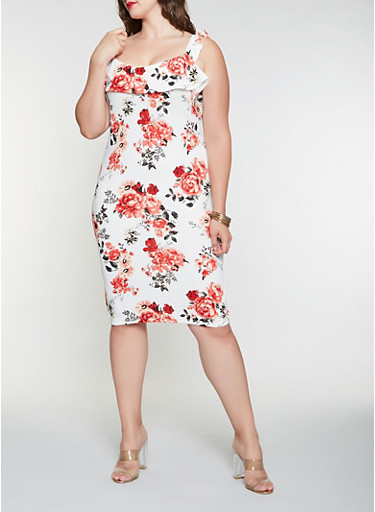 Plus Size Ruffled Floral Bodycon Dress,IVORY,large