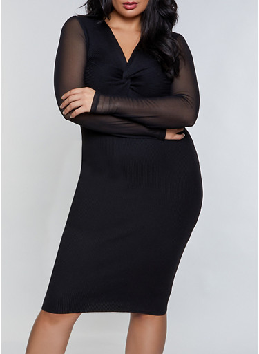 Plus Size Twist Front Mesh Sleeve Sweater Dress,BLACK,large