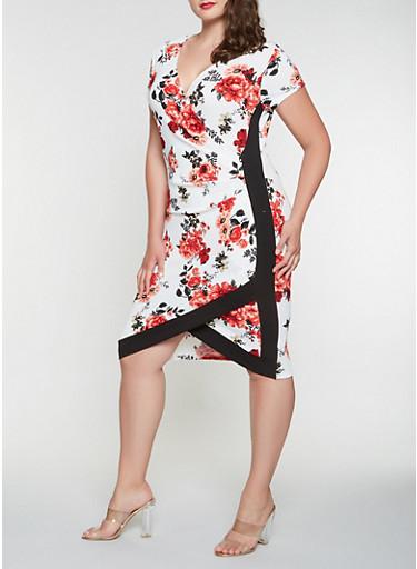 Plus Size Floral Faux Wrap Dress,IVORY,large