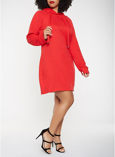 Plus Size Hooded Sweatshirt Dress,RED,large