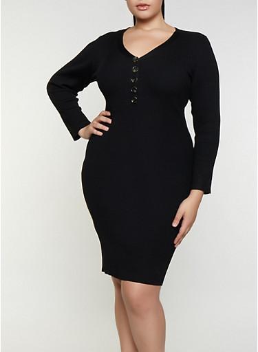 Plus Size Half Button Sweater Dress,BLACK,large