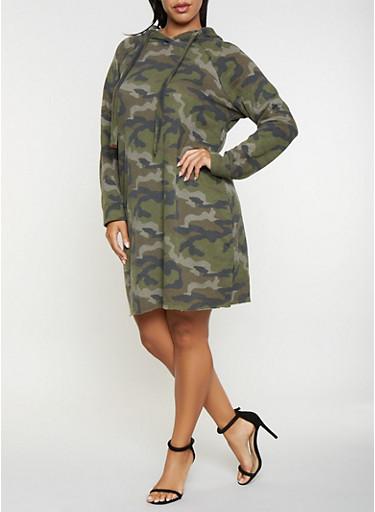 Plus Size Camo Sweatshirt Dress,OLIVE,large