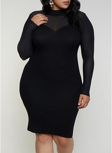 Plus Size Mesh Yoke Ribbed Knit Dress,BLACK,large
