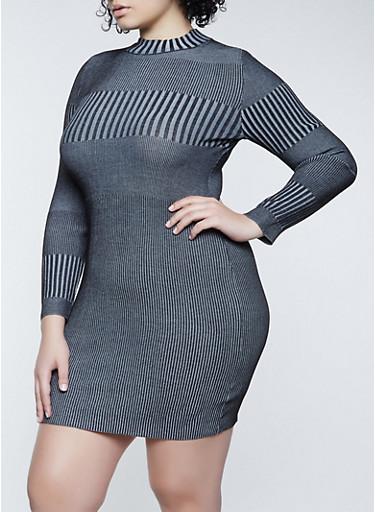 Plus Size Striped Rib Knit Sweater Dress,BLACK,large