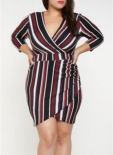 Plus Size Striped Faux Wrap Dress,WINE,large