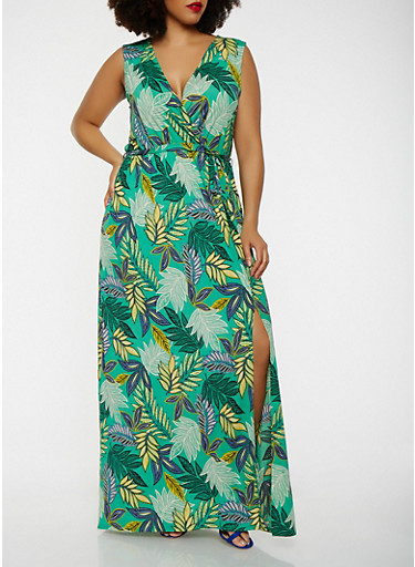 Plus Size Printed Faux Wrap Maxi Dress,GREEN,large
