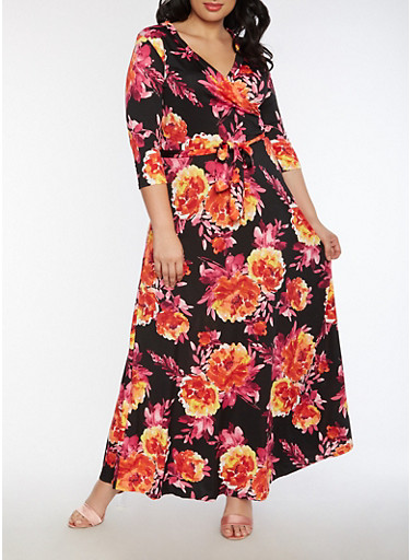 Plus Size Floral Faux Wrap Maxi Dress with Sleeves,BLACK,large