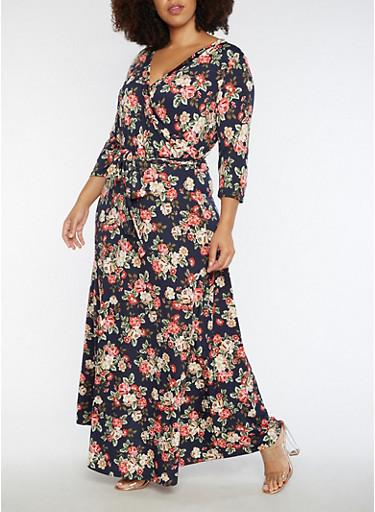 Plus Size Floral Faux Wrap Maxi Dress with Sleeves,INDIGO  NAVY U,large