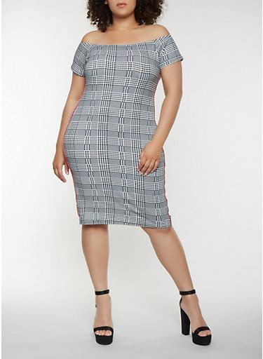 Plus Size Houndstooth Off the Shoulder Dress,BLACK/WHITE,large