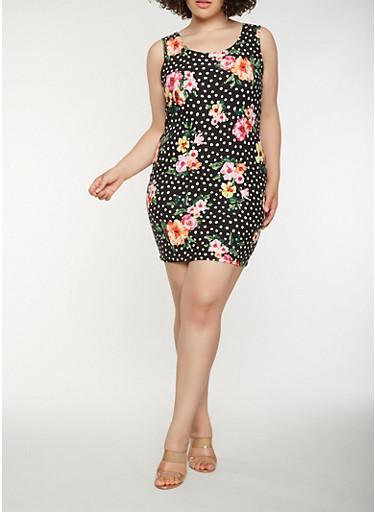 Plus Size Floral Polka Dot Tank Dress,BLACK,large