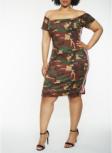 Plus Size Camo Off the Shoulder Dress,OLIVE,large