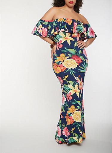 Plus Size Floral Off the Shoulder Maxi Dress,NAVY,large