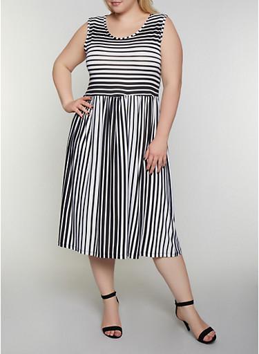 Plus Size Sleeveless Striped Skater Dress,BLACK,large