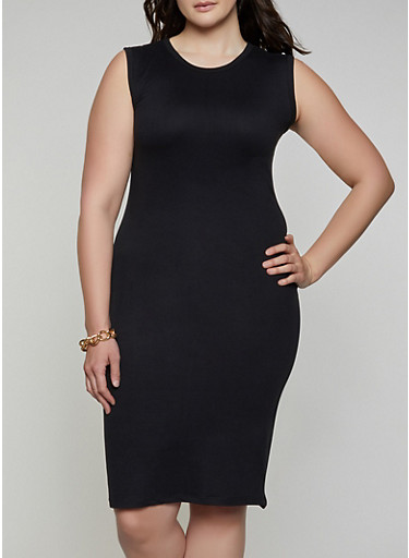 Plus Size Solid Bodycon Dress,BLACK,large