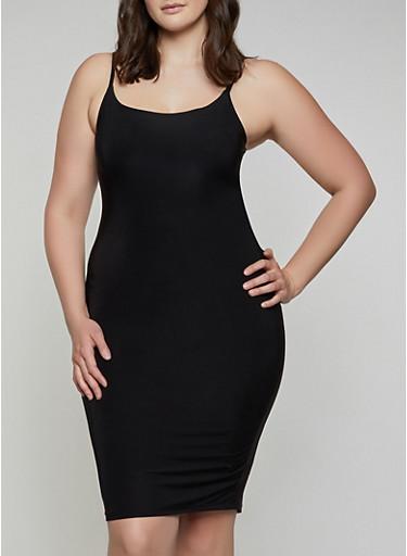 Plus Size Solid Cami Dress,BLACK,large