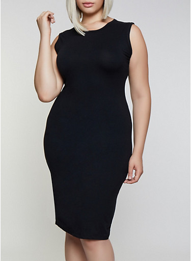 Plus Size Solid Bodycon Dress   3930062705314,BLACK,large