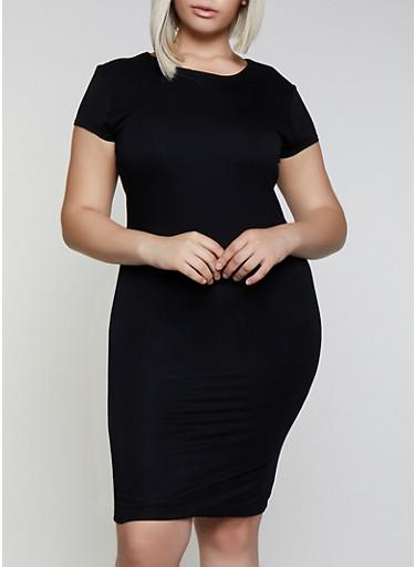 Plus Size Short Sleeve Bodycon Dress