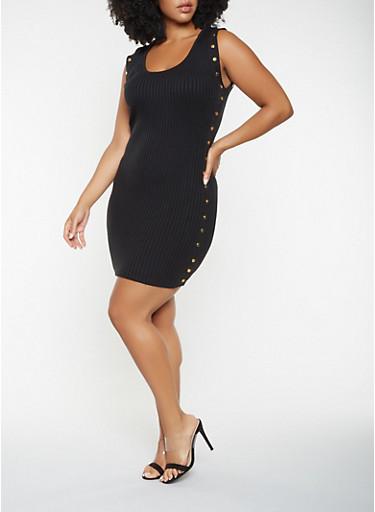 Plus Size Studded Sweater Dress,BLACK,large