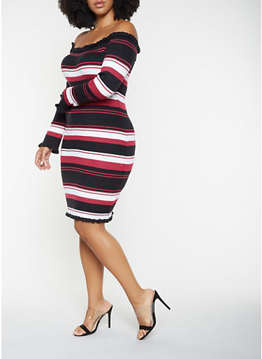 Plus Size Striped Off the Shoulder Sweater Dress,BLACK,large