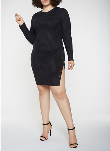 Plus Size Sweater Dress,BLACK,large