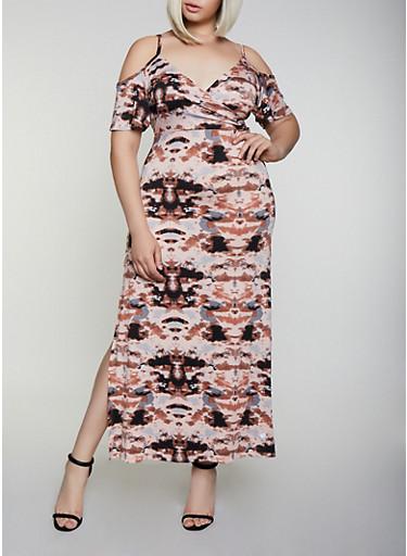 Plus Size Tie Dye Cold Shoulder Maxi Dress,BLACK,large