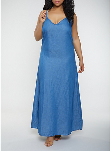 Plus Size Chambray Maxi Shift Dress,MEDIUM WASH,large