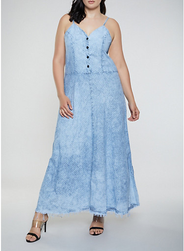 Plus Size Star Print Denim Maxi Dress,LIGHT WASH,large