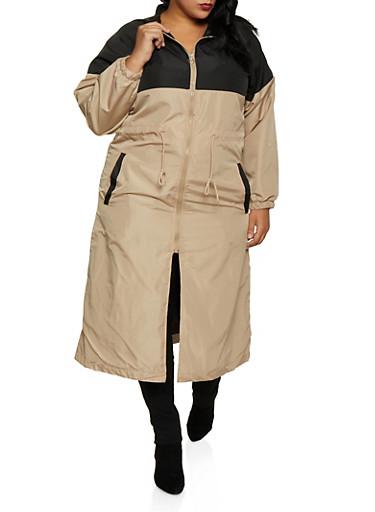 Plus Size Color Block Windbreaker Maxi Dress,BEIGE,large