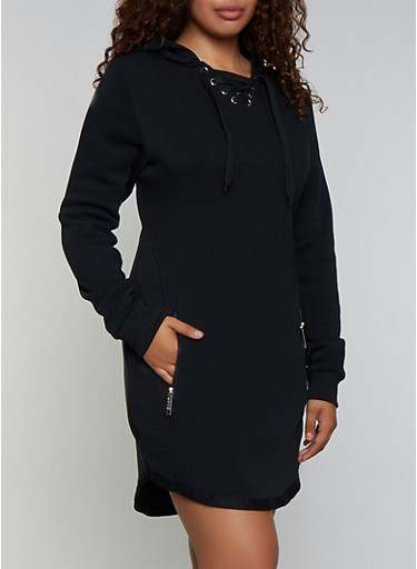Plus Size Lace Up Sweatshirt Dress,BLACK,large