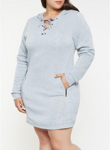 Plus Size Moto Sweatshirt Dress,HEATHER,large