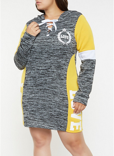 Plus Size Love Graphic Sweatshirt Dress,BLACK,large