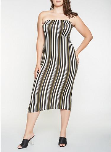 Plus Size Soft Knit Striped Tube Dress Rainbow