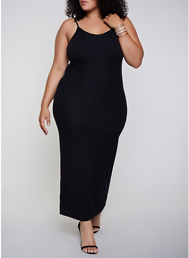 Plus Size Rib Knit Cami Maxi Dress,BLACK,large