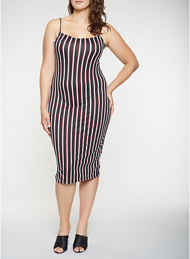 Plus Size Striped Soft Knit Tank Dress,WINE,large