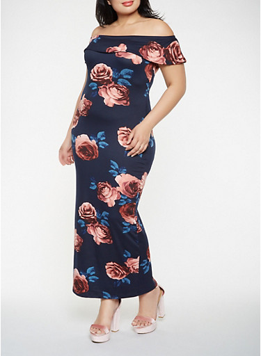 Plus Size Off the Shoulder Floral Maxi Dress,NAVY,large