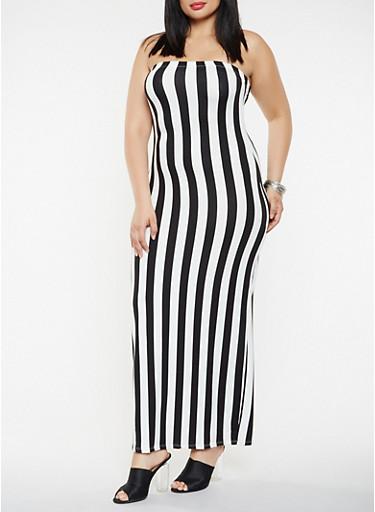 Plus Size Striped Tube Maxi Dress,BLACK,large