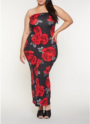 Plus Size Floral Tube Maxi Dress,RED,large