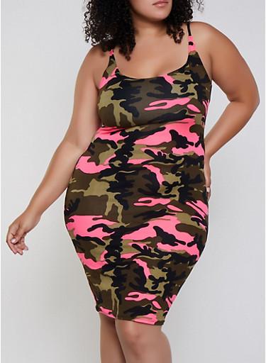 Plus Size Camo Cami Dress,NEON PINK,large